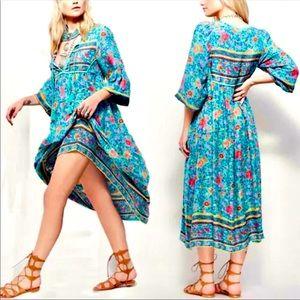 BOHO MAXI DRESS FLORAL TIE FRONT LIGHTWEIGHT KIMON